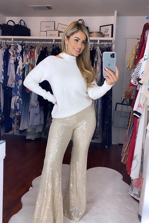Party white gold pants