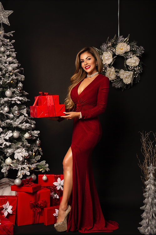 Night Shimmers Red Gown