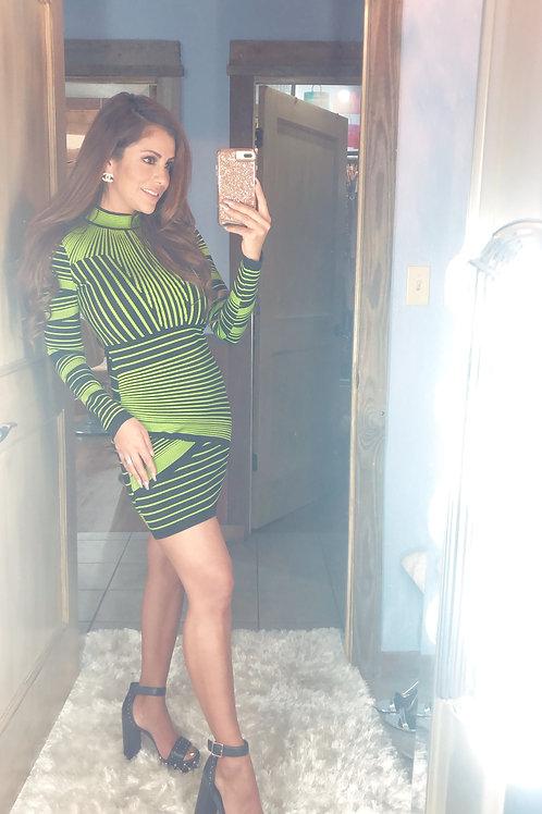 Green Balmain Inspired Dress
