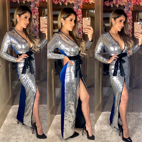 Silver Sequins Wrap Gown
