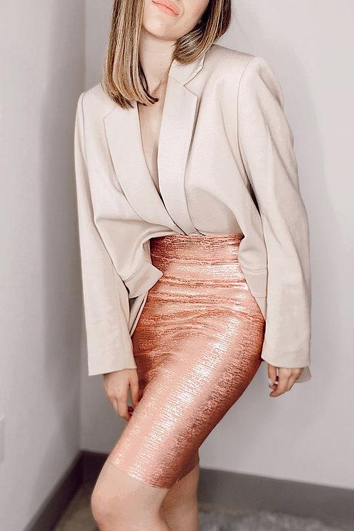 Blush Metallic Skirt