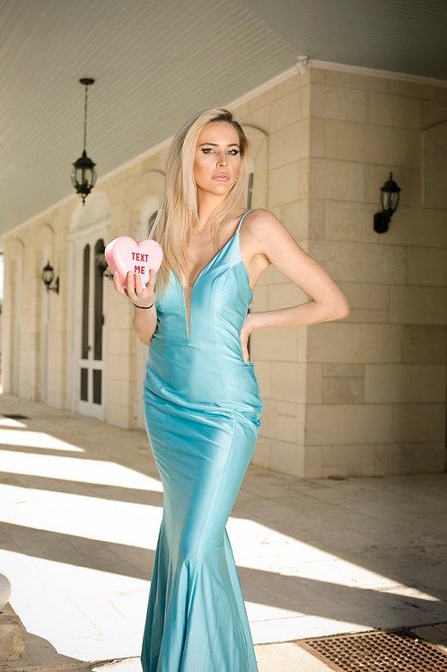 Aqua minimalist gown