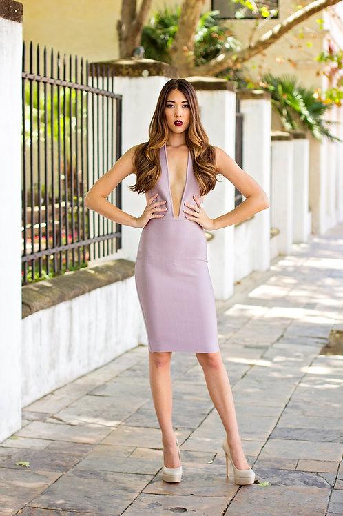 Deep V Lavender Dress