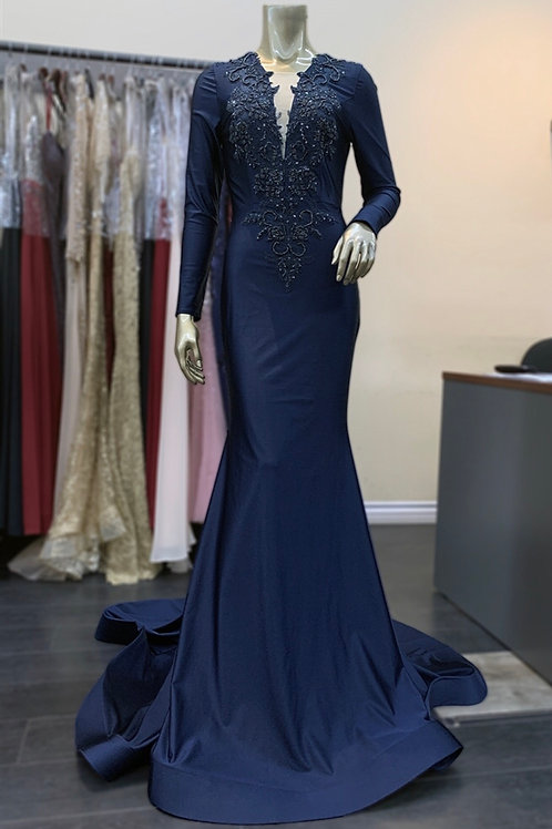 Lace Midnight Blue Gown