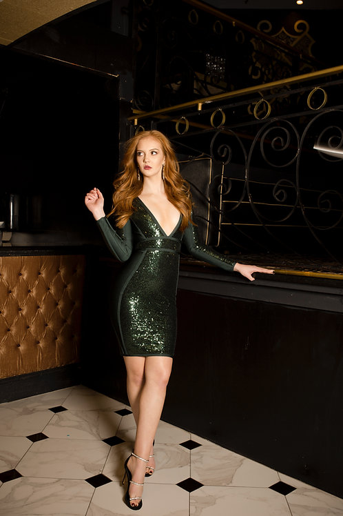 Green Ivy Sequin Dress
