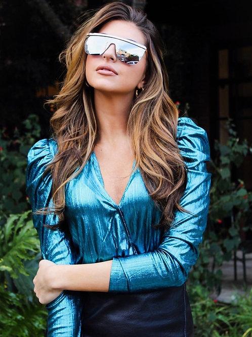 Teal Blue Metallic Bodysuit