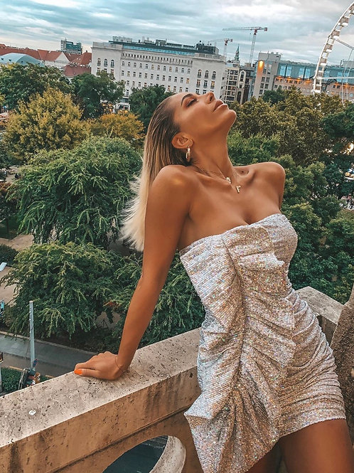 Silver Strapless Party Dress
