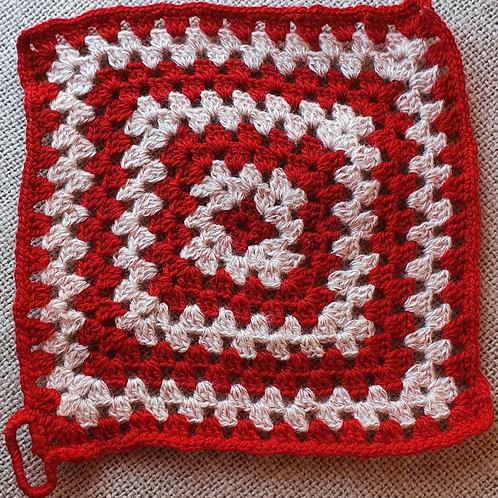 Made Square Pan Mat red & whilte 23cmpan