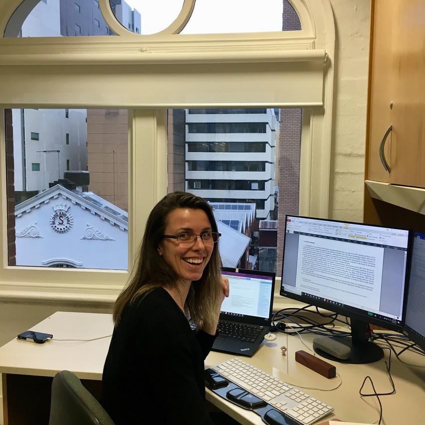 MK Ward enjoying her new office.