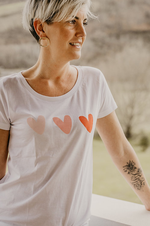 Tee-shirt aux coeurs dégradés