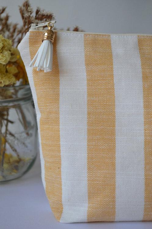 Trousse lin et viscose rayée jaune et blanche