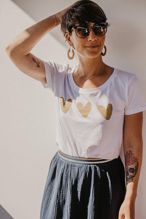 Tee-shirt coeurs dorés