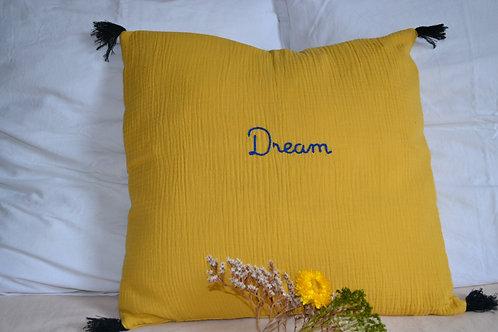 Coussin double gaze moutarde et broderie Dream