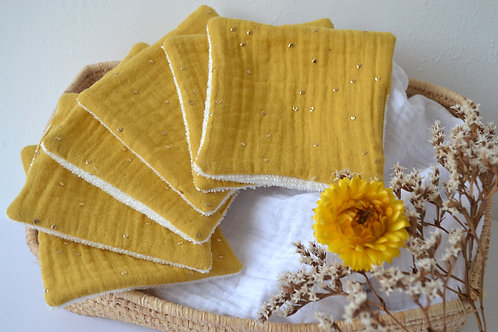 Lingettes double gaze moutarde motifs dorés