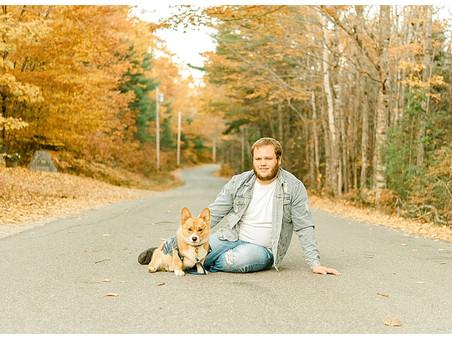 Dad & Dog - Fall Mini Session - Sullivan, Me
