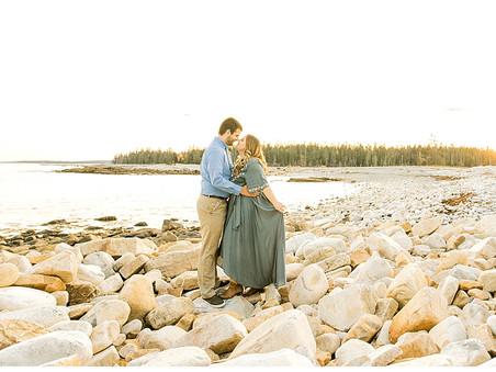 Golden Coastal Engagement Session - Southwest Harbor, Maine