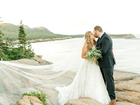 Golden Hour Bridal Portraits - Otter Cliffs - Acadia National Park