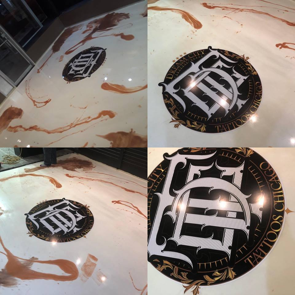 Marble Epoxy 2 color Custom Logo Dream City Tattoos Chicago