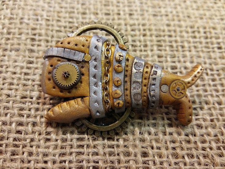 Steam Punk Fish Pin