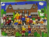 L S Lowry Fimo artwork made by children at St Philips Primary School in Atherton, Greater Manchester