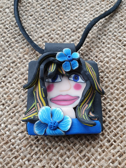 Blue Flower Girl Pendant