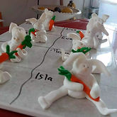 So many rabbits made at a Fun, Friends and Fimo Birthday Party ran by Gill's Clay Creations