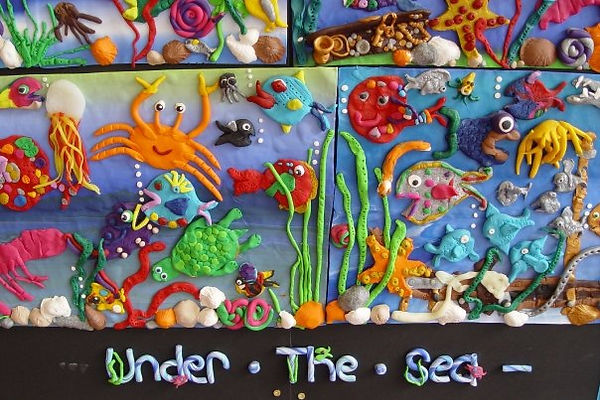 Polymer Clay picture made by all the children at Hilton Lane Primary School, Salford.
