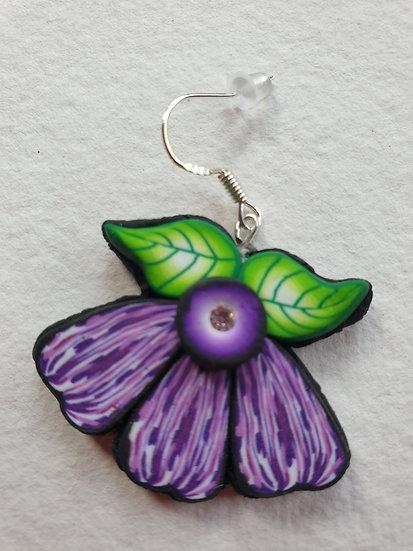 Purple Flower Ear Rings