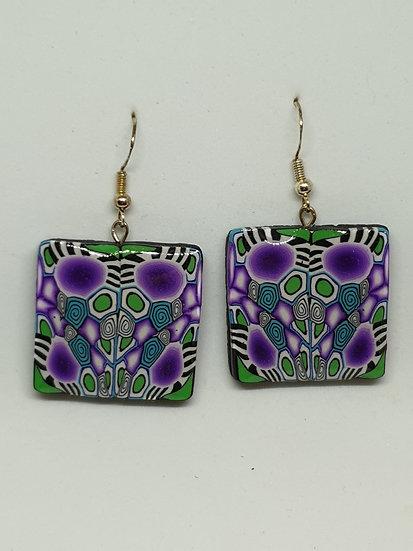 Purple Spots and Stripes Ear Rings