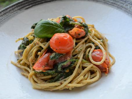 Tomato, basil and goat cheese spaghetti