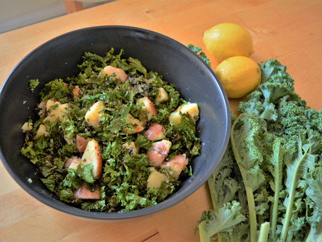 Crispy kale, parmesan and potato salad