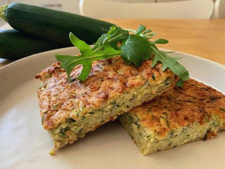 Gluten-free and FODMAP-friendly zucchini slice