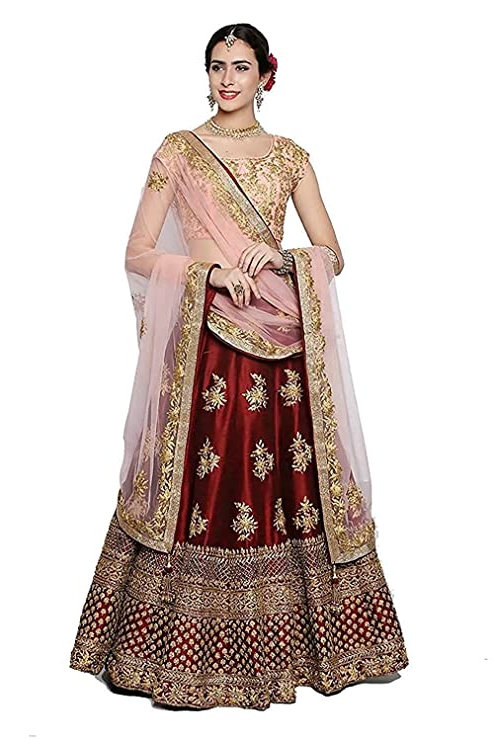 Women's Satin Lehenga Choli (Maroon Pari_Red_Free Size)