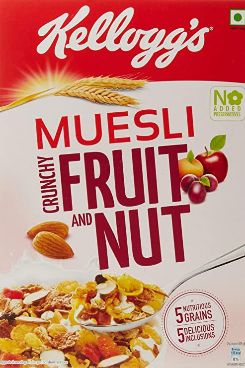Kellogg's Muesli Crunchy Fruit and Nut, Multi-Grain Cereal, High in Iron