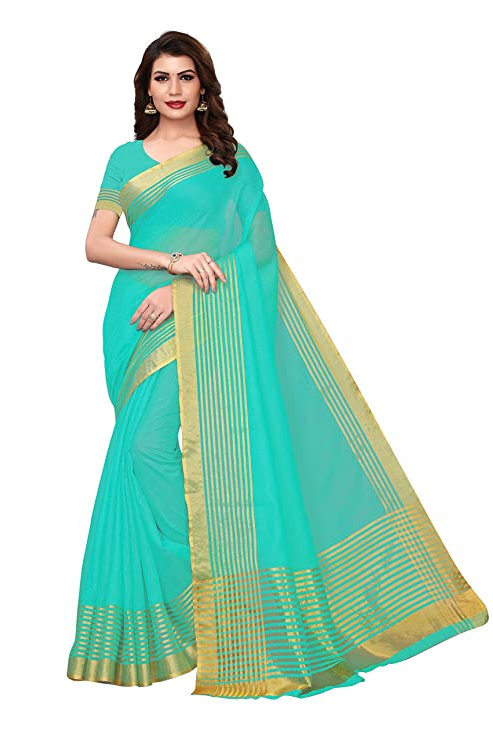 Gold Striped Saree With Blouse Piece (Free Size)