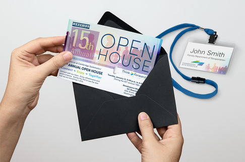 Open House invite and badge