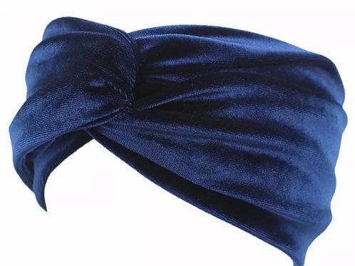 Blue velvet turban