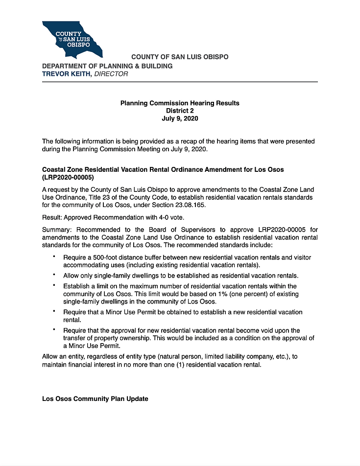 Planning Commission Resluts July 9, 2020