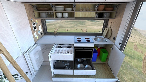 LOOKING INTO KITCHEN CABINET TO BE REPLA