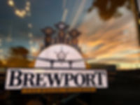 Brewport Storefront on Window w Sunset -
