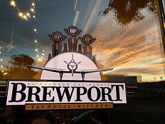 Brewport Storefront on Window w Sunset -