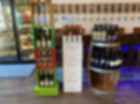 wine display with bottle shop in backgro