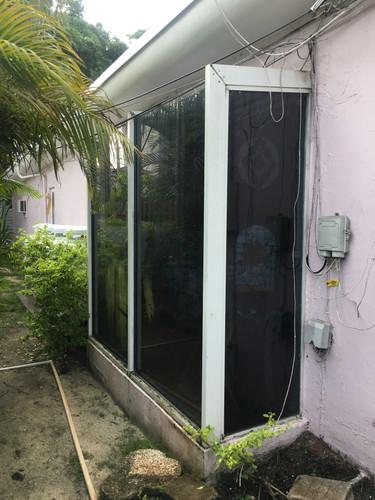 Client patio sunroom window