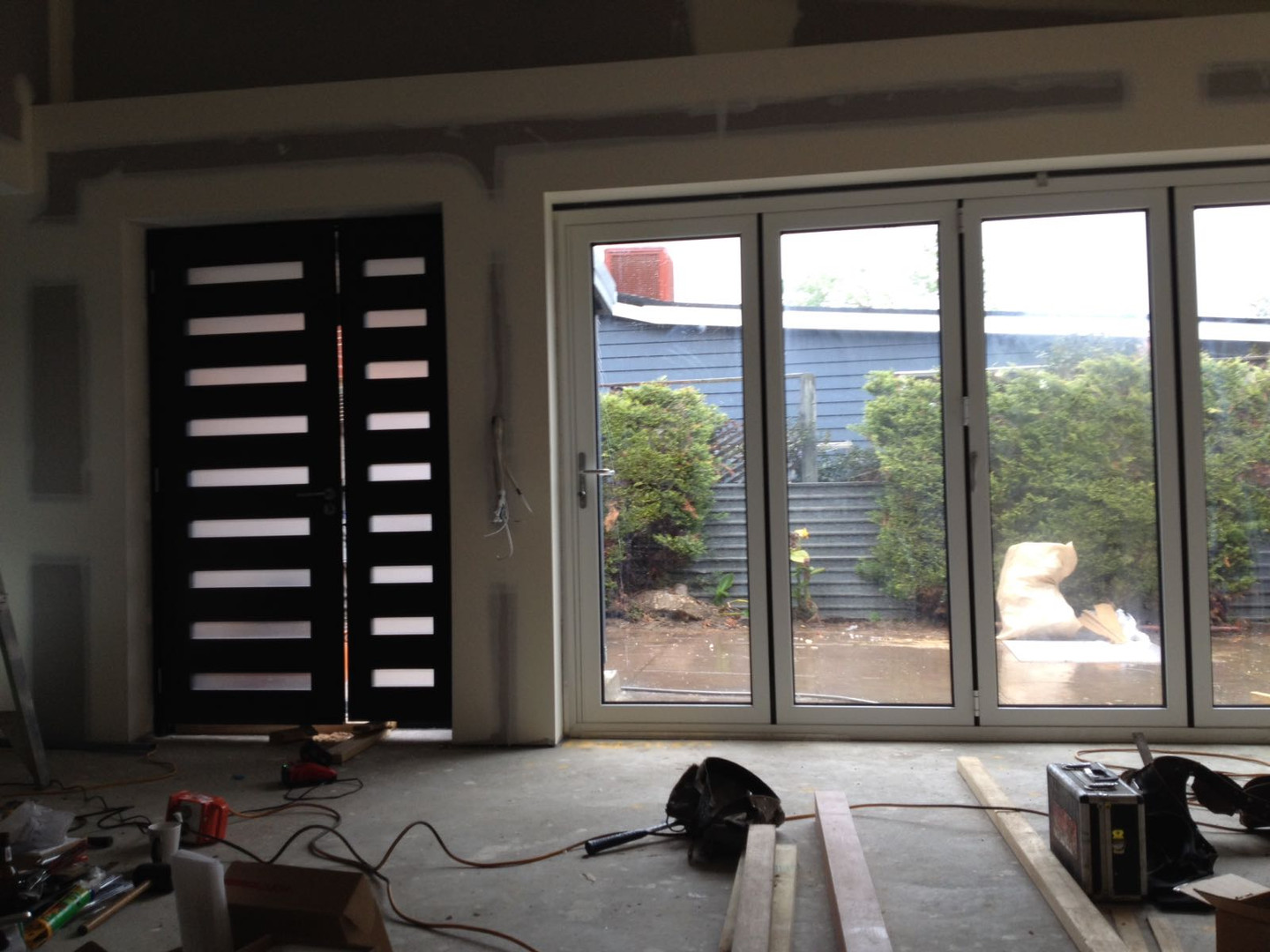 folding glass door from inside