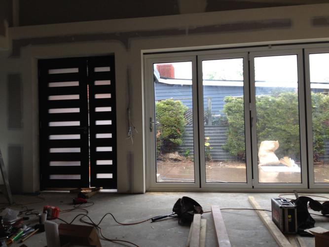 folding glass door from inside