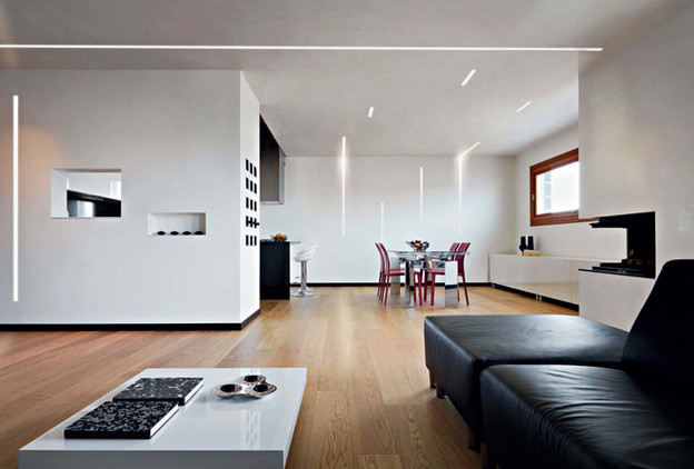 Linear system in living room