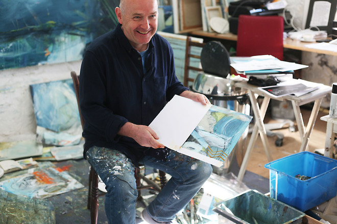 In my studio with the selected study on paper selected by English Heritage