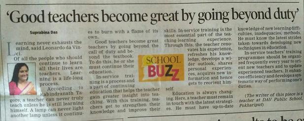 Our Teacher Suprabina Das madam Article published