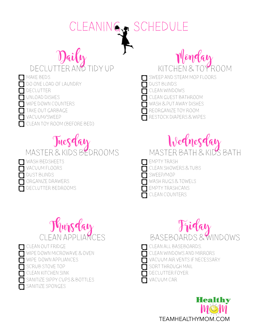 printable household cleaning schedule