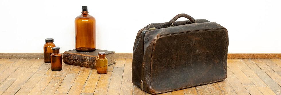 Vintage antieke leren dokterstas dokters tas dokter tas koffer leer leder patina geleefd stoel antiek medische cadeau brocant